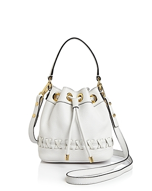 Small Astor Whipstitch Drawstring Bucket Bag - predominant colour: white; occasions: casual, creative work; type of pattern: standard; style: onion bag; length: across body/long; size: oversized; material: leather; pattern: plain; finish: plain; season: s/s 2016; wardrobe: investment