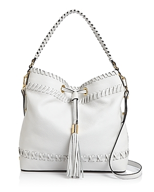 Astor Whipstitch Bucket Bag - predominant colour: white; occasions: casual, creative work; type of pattern: standard; style: onion bag; length: shoulder (tucks under arm); size: standard; material: leather; embellishment: tassels; pattern: plain; finish: plain; season: s/s 2016; wardrobe: investment