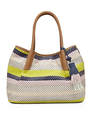 Harlo Tote - predominant colour: ivory/cream; occasions: casual, holiday; type of pattern: heavy; style: tote; length: handle; size: standard; material: leather; embellishment: tassels; finish: plain; pattern: horizontal stripes; multicoloured: multicoloured; season: s/s 2016