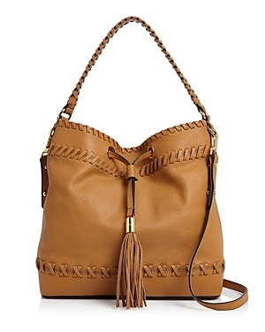 Astor Whipstitch Bucket Bag - predominant colour: tan; occasions: casual, creative work; type of pattern: standard; style: shoulder; length: shoulder (tucks under arm); size: standard; material: leather; pattern: plain; finish: plain; season: s/s 2016; wardrobe: highlight