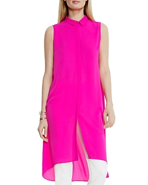 High/Low Tunic - neckline: shirt collar/peter pan/zip with opening; pattern: plain; sleeve style: sleeveless; style: tunic; predominant colour: hot pink; occasions: casual; fibres: polyester/polyamide - 100%; fit: body skimming; length: mid thigh; sleeve length: sleeveless; texture group: sheer fabrics/chiffon/organza etc.; pattern type: fabric; season: s/s 2016; wardrobe: highlight