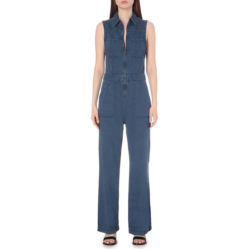Wind More Denim Jumpsuit, Women's, Blue - length: standard; neckline: shirt collar/peter pan/zip with opening; fit: tailored/fitted; pattern: plain; sleeve style: sleeveless; predominant colour: denim; occasions: casual; fibres: cotton - stretch; waist detail: feature waist detail; sleeve length: sleeveless; texture group: denim; style: jumpsuit; pattern type: fabric; season: s/s 2016; wardrobe: highlight