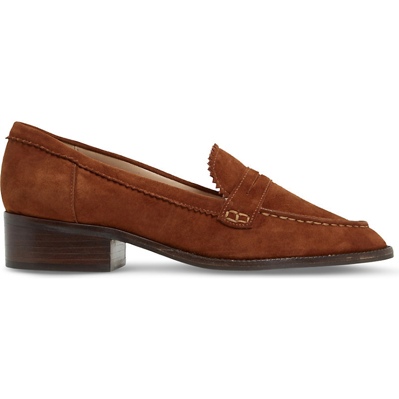 Gandy Zigzag Trim Suede Loafers, Women's, Eur 36 / 3 Uk Women, Dark Tan Suede - predominant colour: terracotta; occasions: casual, work, creative work; material: suede; heel height: flat; toe: pointed toe; style: loafers; finish: plain; pattern: plain; season: s/s 2016; wardrobe: highlight
