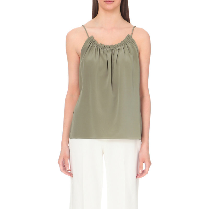Shirred Silk Top, Women's, Light Agave - neckline: round neck; sleeve style: spaghetti straps; pattern: plain; style: vest top; predominant colour: khaki; occasions: casual; length: standard; fibres: silk - 100%; fit: body skimming; sleeve length: sleeveless; texture group: silky - light; pattern type: fabric; season: s/s 2016; wardrobe: basic