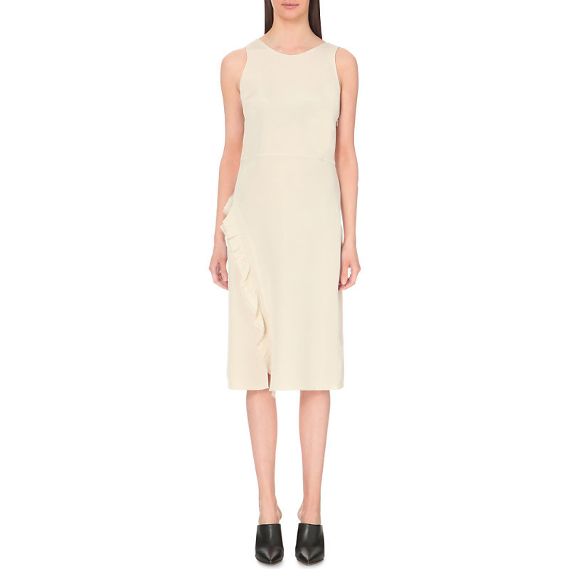 Ruffled Silk Dress, Women's, Brown - style: shift; length: below the knee; pattern: plain; sleeve style: sleeveless; predominant colour: stone; occasions: evening; fit: body skimming; fibres: silk - 100%; neckline: crew; sleeve length: sleeveless; texture group: silky - light; hip detail: ruffles/tiers/tie detail at hip; pattern type: fabric; season: s/s 2016; wardrobe: event