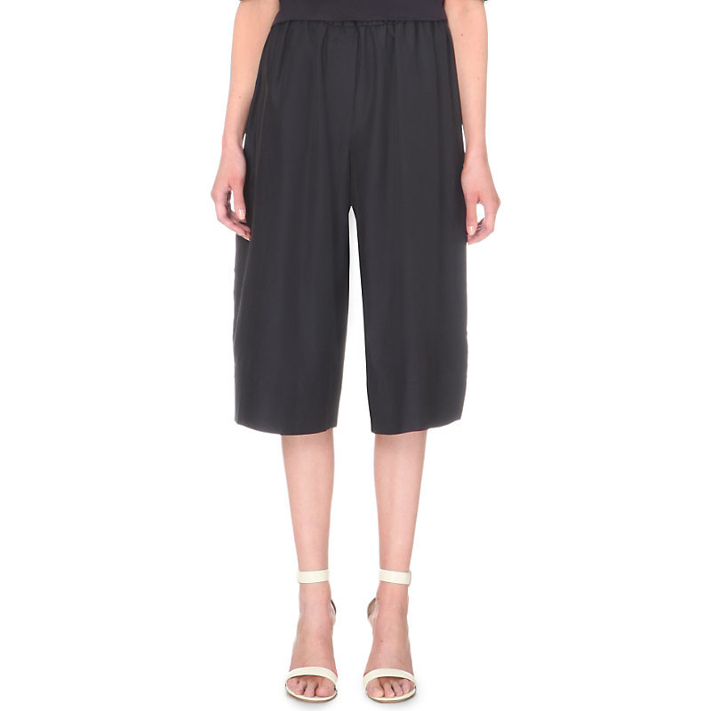 Parachute Cropped Silk And Cotton Blend Trousers, Women's, Dark Grey/Blue - pattern: plain; waist: high rise; predominant colour: navy; fibres: silk - mix; texture group: crepes; pattern type: fabric; occasions: creative work; season: s/s 2016; wardrobe: basic; style: culotte; length: below the knee; fit: a-line
