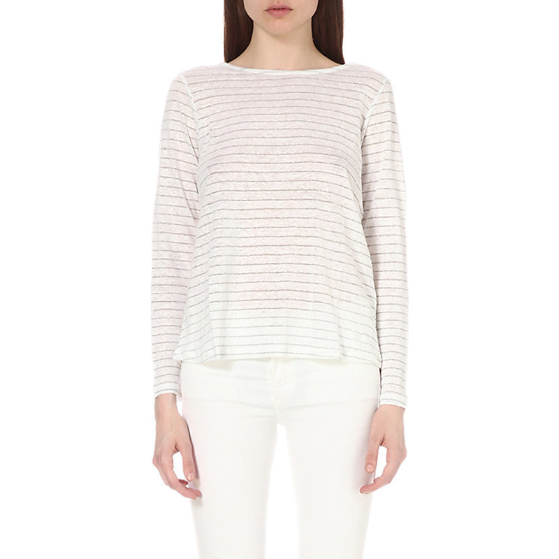 Cross Back Linen Blend T Shirt, Women's, White - pattern: horizontal stripes; style: t-shirt; predominant colour: white; secondary colour: light grey; occasions: casual; length: standard; fibres: linen - mix; fit: body skimming; neckline: crew; sleeve length: long sleeve; sleeve style: standard; pattern type: fabric; texture group: jersey - stretchy/drapey; season: s/s 2016; wardrobe: basic