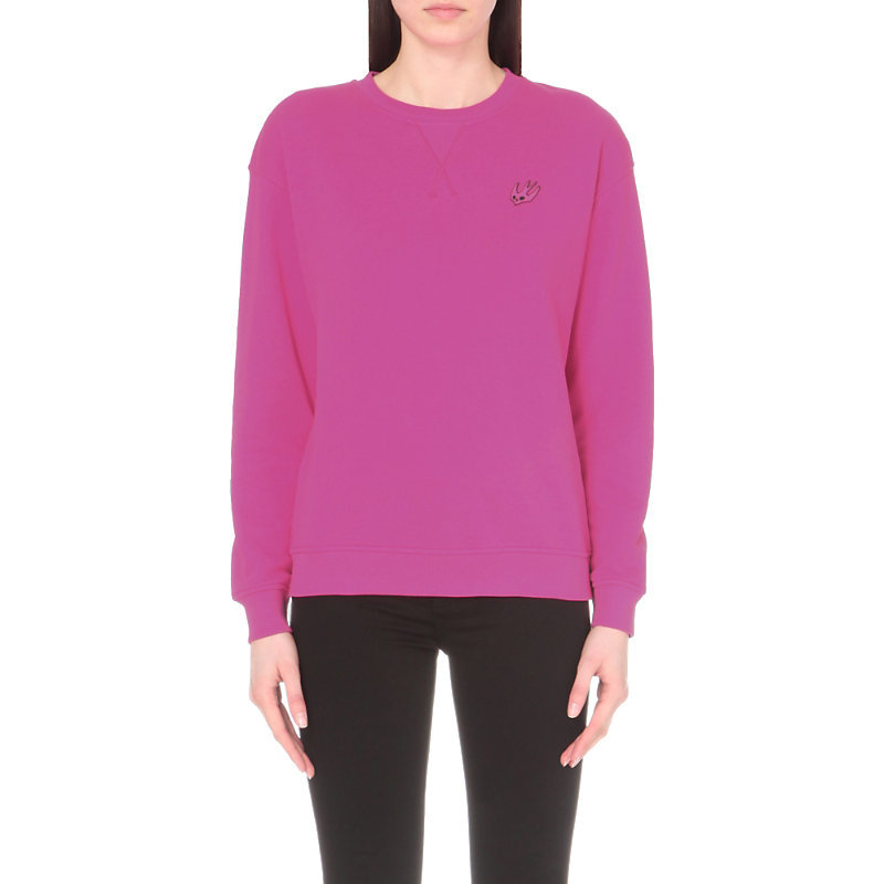 Swallow Motif Cotton Jersey Sweatshirt, Women's, Size: Medium, Iconic Pink - neckline: round neck; pattern: plain; style: sweat top; predominant colour: hot pink; occasions: casual; length: standard; fibres: cotton - 100%; fit: body skimming; sleeve length: long sleeve; sleeve style: standard; pattern type: fabric; texture group: jersey - stretchy/drapey; season: s/s 2016