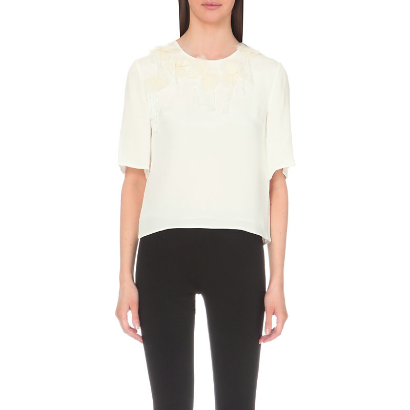 Peony Embellished Silk T Shirt, Women's, Ant White - pattern: plain; style: t-shirt; predominant colour: ivory/cream; occasions: casual; length: standard; fibres: silk - 100%; fit: body skimming; neckline: crew; sleeve length: half sleeve; sleeve style: standard; texture group: silky - light; pattern type: fabric; season: s/s 2016; wardrobe: basic