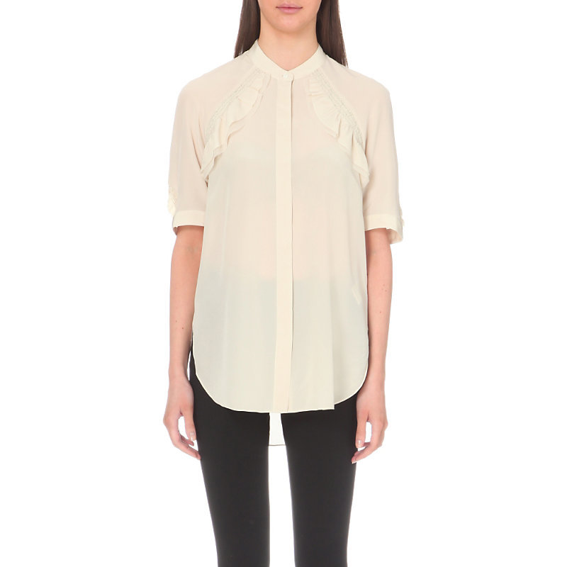 Ruffled Silk Shirt, Women's, Brown - pattern: plain; length: below the bottom; style: shirt; predominant colour: ivory/cream; occasions: casual; neckline: collarstand; fibres: silk - 100%; fit: body skimming; sleeve length: half sleeve; sleeve style: standard; texture group: silky - light; bust detail: bulky details at bust; pattern type: fabric; season: s/s 2016; wardrobe: highlight