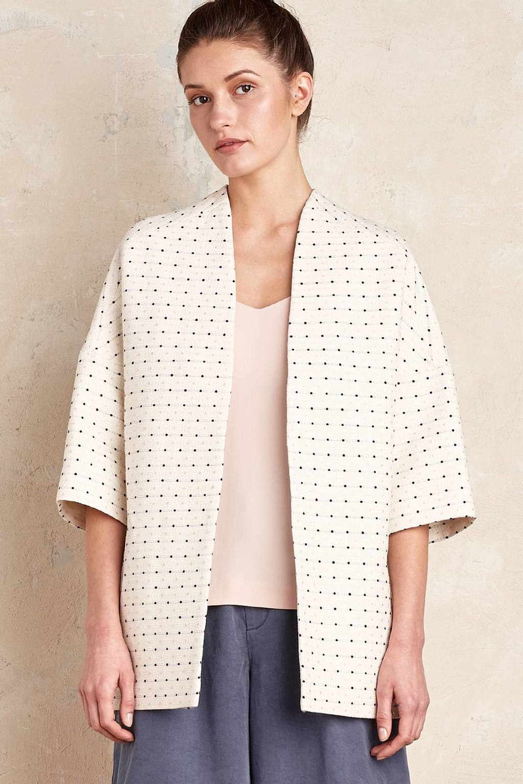 Bianca Jacquard Coat, Ivory - pattern: plain; length: below the bottom; collar: round collar/collarless; style: single breasted; predominant colour: ivory/cream; fit: straight cut (boxy); fibres: cotton - mix; sleeve length: 3/4 length; sleeve style: standard; collar break: low/open; pattern type: fabric; texture group: brocade/jacquard; occasions: creative work; season: s/s 2016; wardrobe: highlight