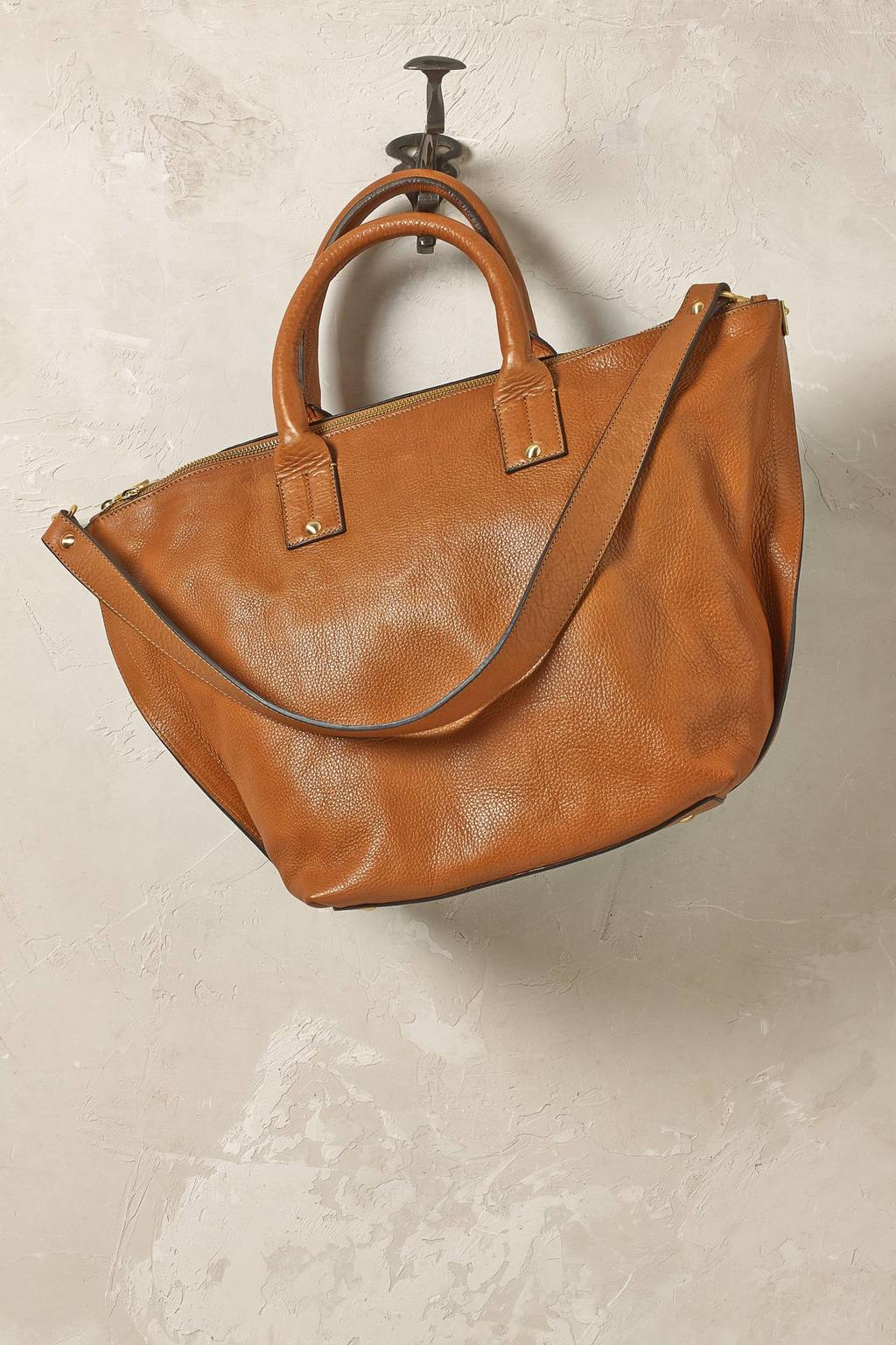 Milana Shoulder Bag - predominant colour: tan; occasions: casual, creative work; type of pattern: standard; style: shoulder; length: handle; size: standard; material: leather; pattern: plain; finish: plain; season: s/s 2016