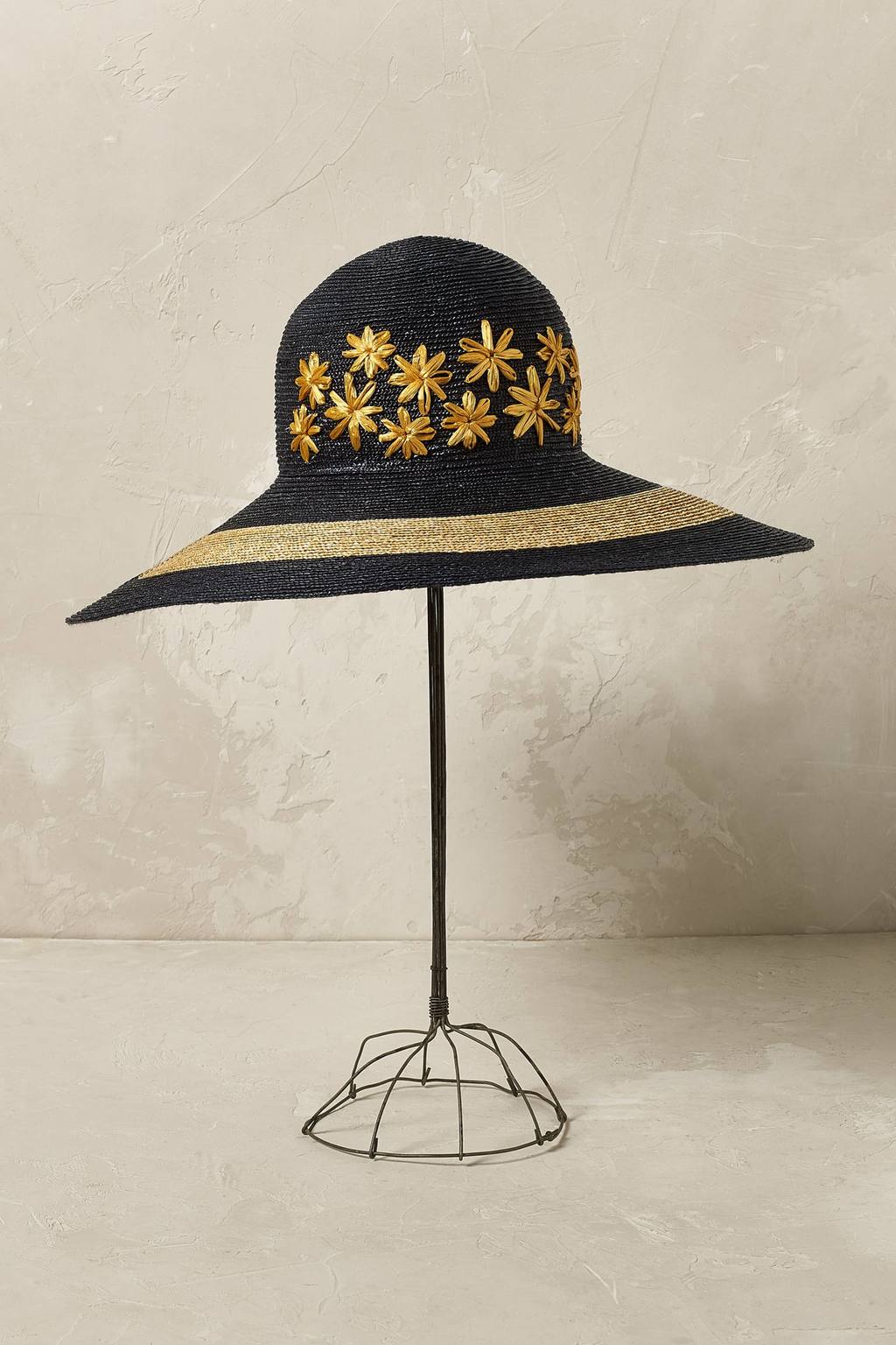 Marguerite Floral Floppy Hat - predominant colour: navy; secondary colour: camel; occasions: casual, holiday; type of pattern: heavy; style: wide brimmed; size: large; material: macrame/raffia/straw; pattern: patterned/print; season: s/s 2016; wardrobe: holiday
