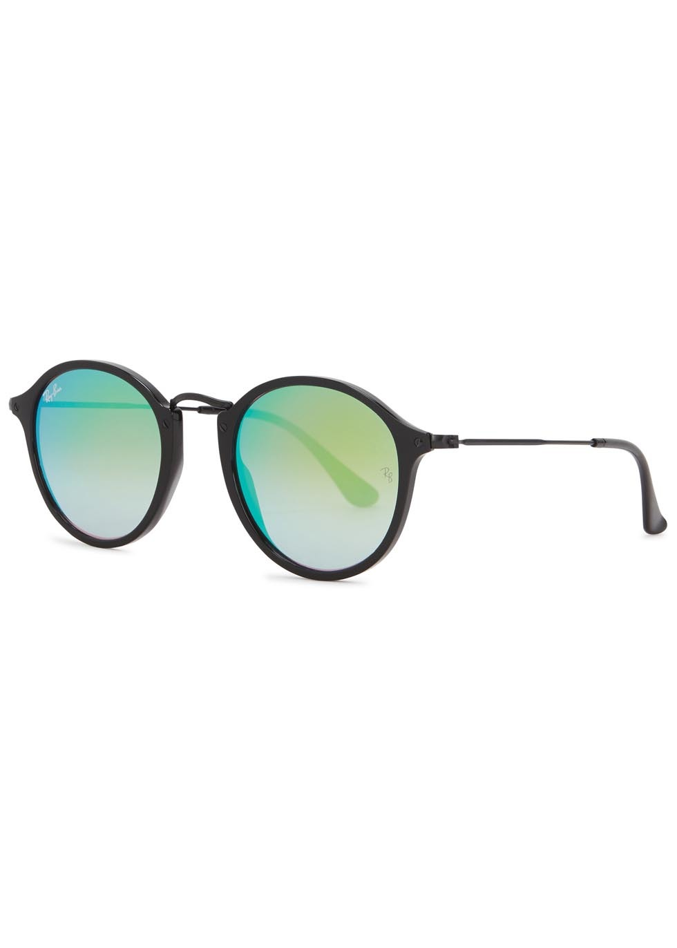 Black Mirrored Round Frame Sunglasses - predominant colour: black; occasions: casual, holiday; style: d frame; size: standard; material: plastic/rubber; pattern: plain; finish: plain; season: s/s 2016; wardrobe: basic