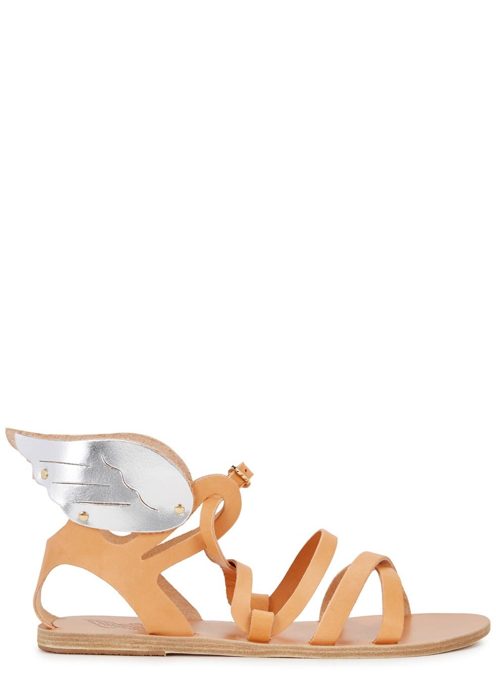 Nephele Light Brown Leather Sandals - predominant colour: bright orange; secondary colour: silver; occasions: casual; material: leather; heel height: flat; heel: standard; toe: open toe/peeptoe; style: strappy; finish: plain; pattern: plain; season: s/s 2016