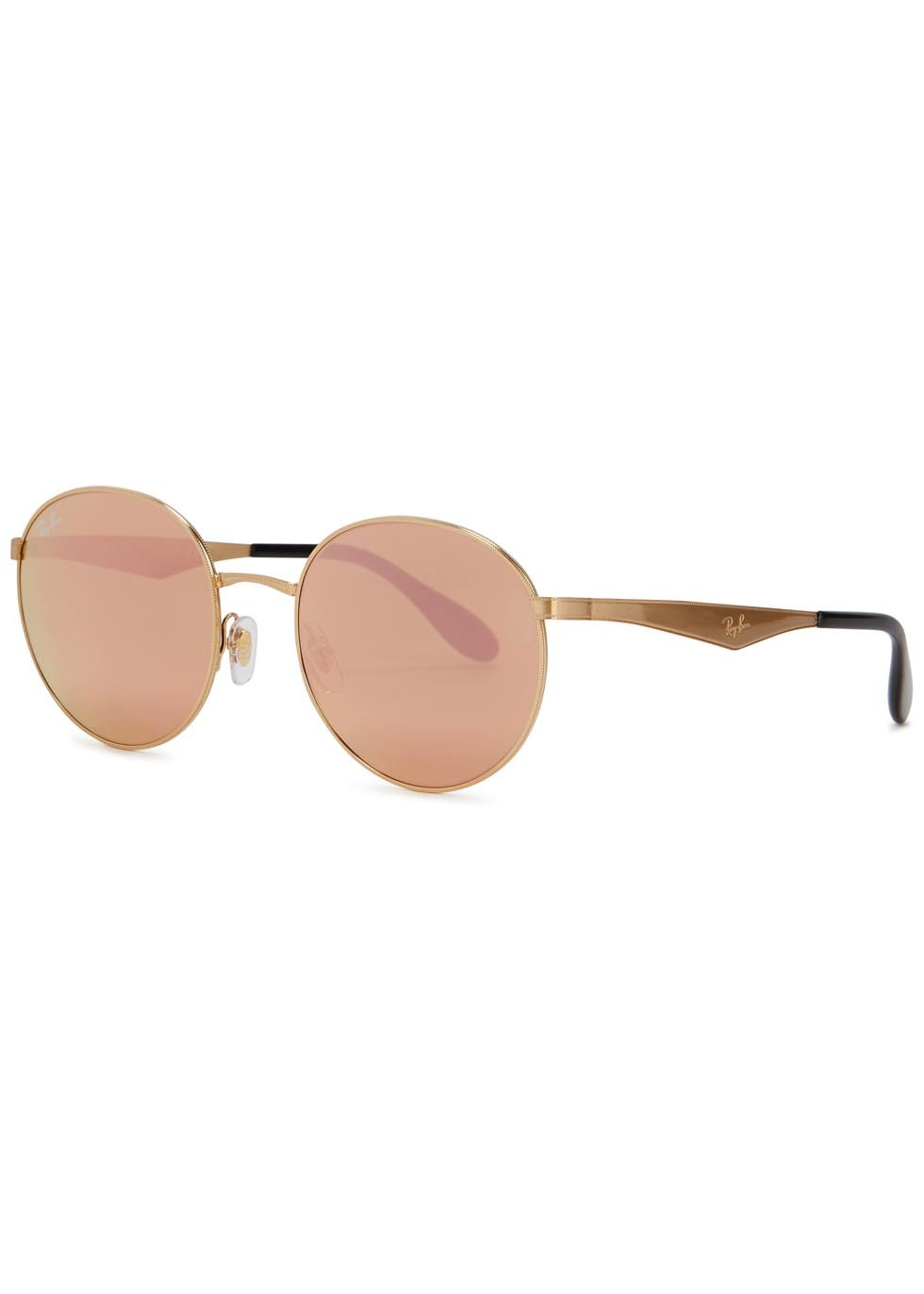 Mirrored Round Frame Sunglasses - predominant colour: blush; secondary colour: gold; occasions: casual, holiday; style: round; size: standard; material: chain/metal; pattern: plain; finish: metallic; season: s/s 2016; wardrobe: basic