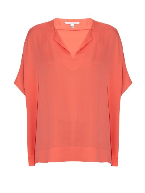 Kora Top - neckline: v-neck; sleeve style: dolman/batwing; pattern: plain; length: below the bottom; predominant colour: coral; occasions: casual, creative work; style: top; fit: loose; sleeve length: half sleeve; pattern type: fabric; texture group: jersey - stretchy/drapey; fibres: silk - stretch; season: s/s 2016; wardrobe: highlight