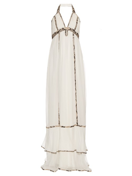 Sakara Dress - fit: empire; sleeve style: sleeveless; style: maxi dress; length: ankle length; neckline: low halter neck; back detail: back revealing; predominant colour: ivory/cream; secondary colour: stone; occasions: evening; fibres: silk - 100%; hip detail: adds bulk at the hips; sleeve length: sleeveless; texture group: sheer fabrics/chiffon/organza etc.; pattern type: fabric; pattern size: light/subtle; pattern: patterned/print; season: s/s 2016; wardrobe: event