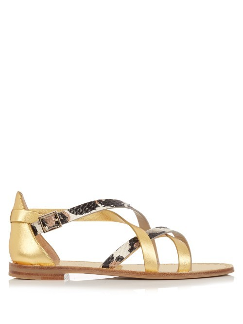 Cannes Sandals - predominant colour: gold; secondary colour: black; occasions: casual, holiday; material: leather; heel height: flat; ankle detail: ankle strap; heel: block; toe: open toe/peeptoe; style: strappy; finish: metallic; pattern: animal print; season: s/s 2016; wardrobe: highlight