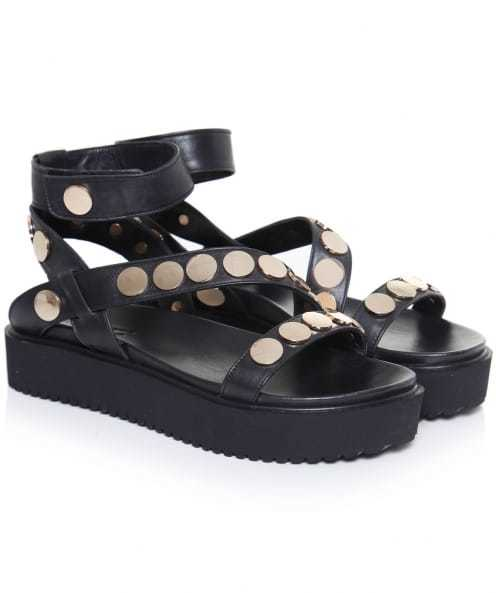 Studded Ankle Strap Sandals - predominant colour: black; occasions: casual; material: leather; heel height: flat; embellishment: studs; ankle detail: ankle strap; heel: wedge; toe: open toe/peeptoe; style: strappy; finish: plain; pattern: patterned/print; shoe detail: platform; season: s/s 2016; wardrobe: highlight