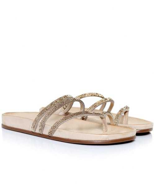 Diamante Cross Strap Sandals - predominant colour: champagne; occasions: casual, holiday; material: leather; heel height: flat; embellishment: crystals/glass; heel: standard; toe: toe thongs; style: strappy; finish: metallic; pattern: plain; shoe detail: moulded soul; season: s/s 2016; wardrobe: highlight