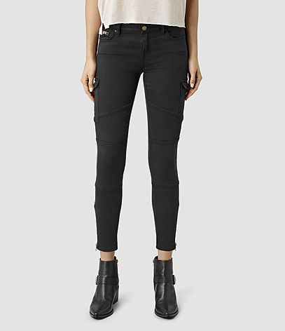 Gwen Skinny Cargo Jeans - style: skinny leg; pattern: plain; pocket detail: traditional 5 pocket; waist: mid/regular rise; predominant colour: black; occasions: casual; length: ankle length; fibres: cotton - stretch; texture group: denim; pattern type: fabric; season: s/s 2016