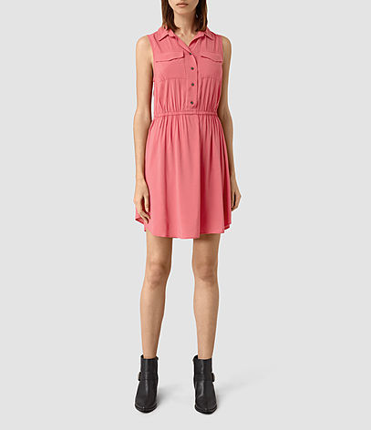 Itaca Dress - style: shirt; neckline: shirt collar/peter pan/zip with opening; pattern: plain; sleeve style: sleeveless; predominant colour: pink; occasions: casual; length: just above the knee; fit: body skimming; fibres: viscose/rayon - 100%; sleeve length: sleeveless; pattern type: fabric; texture group: other - light to midweight; season: s/s 2016; wardrobe: highlight