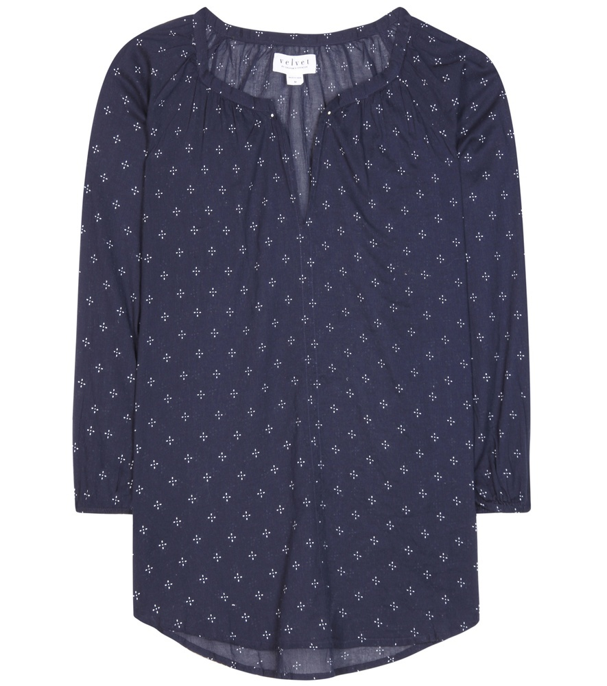 Berlina Printed Cotton Blouse - neckline: round neck; length: below the bottom; style: shirt; secondary colour: pale blue; predominant colour: navy; occasions: casual, creative work; fibres: cotton - 100%; fit: straight cut; sleeve length: 3/4 length; sleeve style: standard; texture group: cotton feel fabrics; pattern type: fabric; pattern size: light/subtle; pattern: patterned/print; season: s/s 2016; wardrobe: highlight