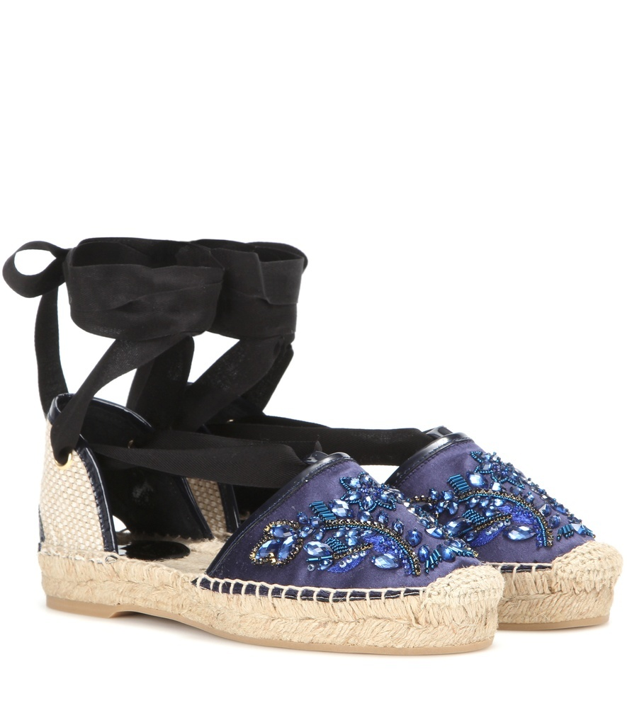 Adriana Embellished Satin Espadrilles - predominant colour: purple; secondary colour: black; occasions: casual, holiday; material: fabric; heel height: flat; ankle detail: ankle tie; toe: round toe; finish: plain; pattern: colourblock; style: espadrilles; shoe detail: platform; season: s/s 2016; wardrobe: highlight