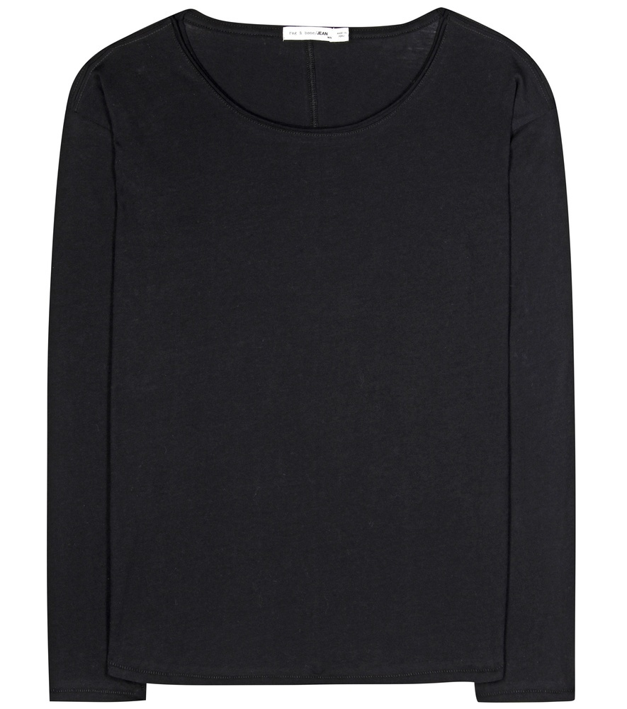 Slacker Cotton T Shirt - neckline: round neck; pattern: plain; style: t-shirt; predominant colour: black; occasions: casual, creative work; length: standard; fibres: cotton - 100%; fit: body skimming; sleeve length: long sleeve; sleeve style: standard; texture group: crepes; pattern type: fabric; season: s/s 2016; wardrobe: basic