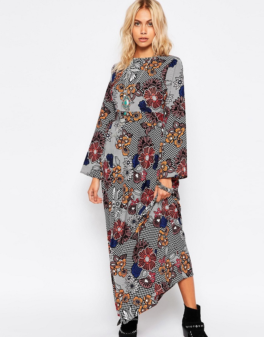 Printed Tea Dress Floral Crosshatch Pr - fit: fitted at waist; style: maxi dress; length: ankle length; secondary colour: navy; predominant colour: mid grey; fibres: polyester/polyamide - 100%; occasions: occasion; neckline: crew; sleeve length: long sleeve; sleeve style: standard; texture group: crepes; pattern type: fabric; pattern size: standard; pattern: patterned/print; multicoloured: multicoloured; season: s/s 2016; wardrobe: event