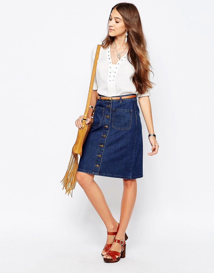 Denim Pencil Skirt Dark Denim - pattern: plain; style: straight; waist detail: belted waist/tie at waist/drawstring; waist: mid/regular rise; predominant colour: navy; occasions: casual; length: on the knee; fibres: cotton - mix; texture group: denim; fit: straight cut; pattern type: fabric; season: s/s 2016; wardrobe: basic