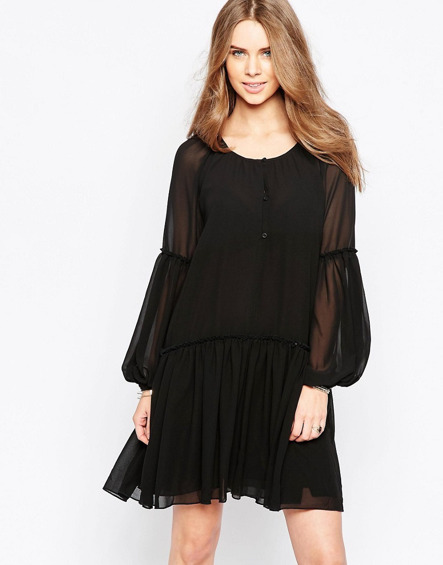 Moves Pleated Skirt Smock Dress Black - style: smock; neckline: round neck; pattern: plain; sleeve style: balloon; predominant colour: black; occasions: evening; length: just above the knee; fit: soft a-line; fibres: polyester/polyamide - 100%; sleeve length: long sleeve; texture group: sheer fabrics/chiffon/organza etc.; pattern type: fabric; season: s/s 2016; wardrobe: event