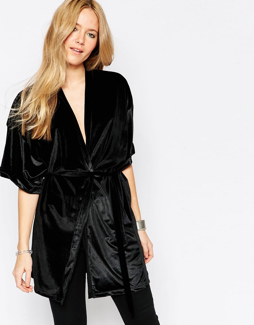 Oil Short Sleeve Drapey Kimono 2146826246 - sleeve style: dolman/batwing; pattern: plain; collar: round collar/collarless; fit: loose; predominant colour: black; occasions: evening, creative work; fibres: polyester/polyamide - 100%; length: mid thigh; waist detail: belted waist/tie at waist/drawstring; sleeve length: half sleeve; collar break: medium; pattern type: fabric; texture group: velvet/fabrics with pile; style: fluid/kimono; season: s/s 2016