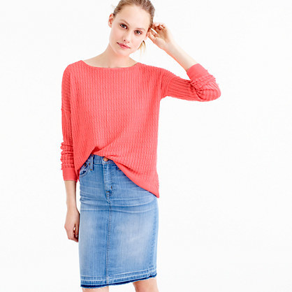 Garment Dyed Linen Cable Crewneck Sweater - neckline: round neck; pattern: plain; style: standard; predominant colour: coral; occasions: casual, creative work; length: standard; fibres: linen - 100%; fit: loose; sleeve length: long sleeve; sleeve style: standard; texture group: knits/crochet; pattern type: knitted - fine stitch; season: s/s 2016; wardrobe: highlight