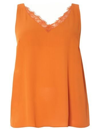 Rust Orange Lace Cami Top - neckline: v-neck; sleeve style: standard vest straps/shoulder straps; pattern: plain; style: camisole; predominant colour: bright orange; length: standard; fibres: polyester/polyamide - 100%; fit: straight cut; sleeve length: sleeveless; texture group: crepes; pattern type: fabric; embellishment: lace; occasions: creative work; season: s/s 2016; wardrobe: highlight; embellishment location: bust