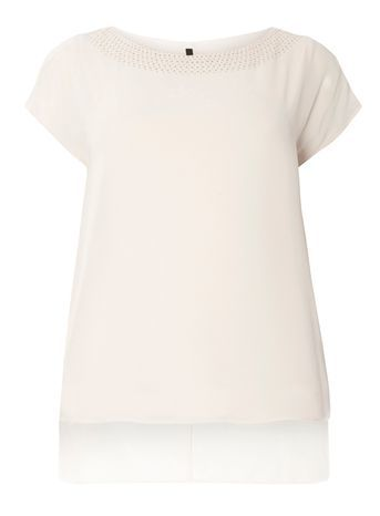 Blush Pink Stud Detail Top - neckline: slash/boat neckline; pattern: plain; style: t-shirt; predominant colour: blush; occasions: casual; length: standard; fibres: polyester/polyamide - 100%; fit: straight cut; sleeve length: short sleeve; sleeve style: standard; texture group: crepes; pattern type: fabric; embellishment: studs; season: s/s 2016; wardrobe: highlight