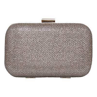 Darcy Box Clutch Bag, Gold Sparkle - predominant colour: gold; occasions: evening, occasion; type of pattern: standard; style: clutch; length: hand carry; size: small; material: fabric; pattern: plain; finish: metallic; season: s/s 2016