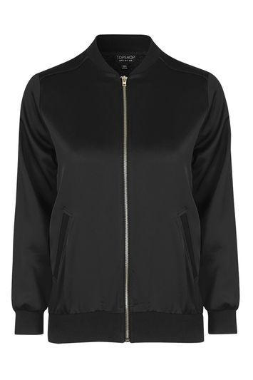 Satin Bomber Jacket - pattern: plain; collar: round collar/collarless; hip detail: draws attention to hips; style: bomber; predominant colour: black; occasions: casual, creative work; length: standard; fit: straight cut (boxy); fibres: polyester/polyamide - 100%; sleeve length: long sleeve; sleeve style: standard; texture group: structured shiny - satin/tafetta/silk etc.; collar break: high; pattern type: fabric; trends: rebel girl, tomboy girl; season: s/s 2016; wardrobe: basic
