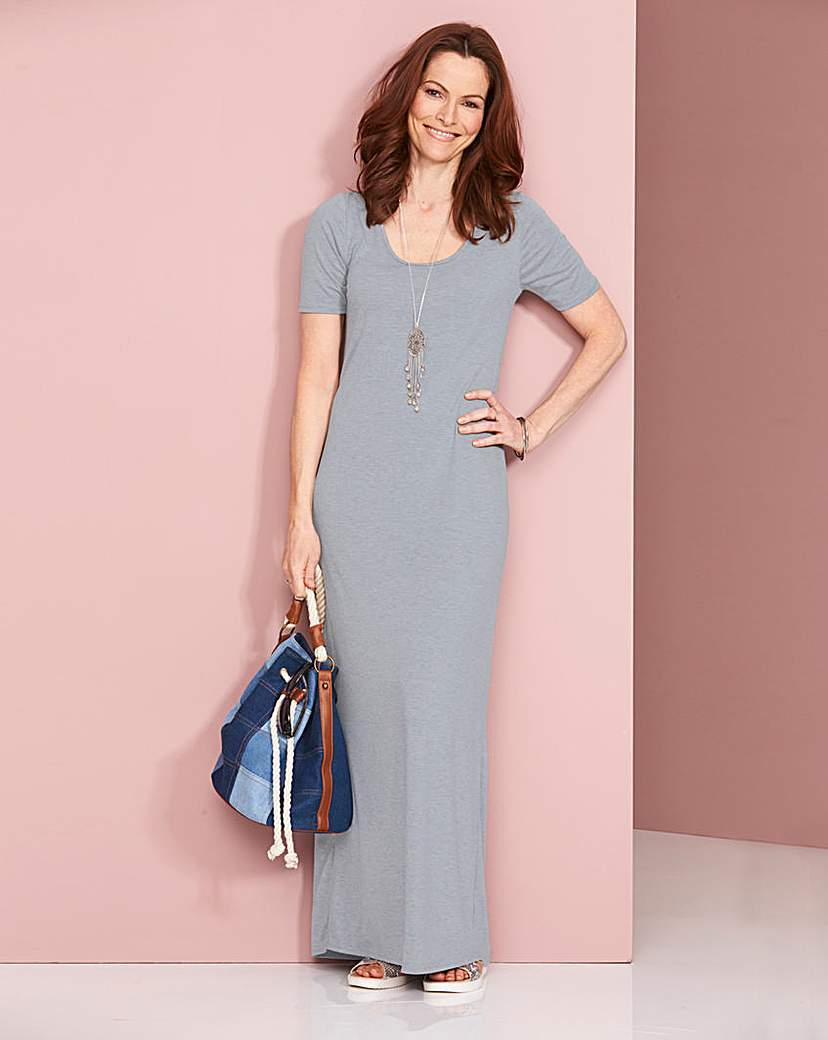 Grey Marl Jersey Maxi T Shirt Dress - pattern: plain; style: maxi dress; predominant colour: light grey; occasions: casual; length: floor length; fit: body skimming; fibres: viscose/rayon - stretch; neckline: crew; sleeve length: short sleeve; sleeve style: standard; pattern type: fabric; texture group: jersey - stretchy/drapey; season: s/s 2016; wardrobe: basic