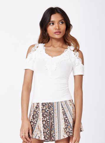 Womens Petites Ivory Crochet Top, Ivory - neckline: v-neck; pattern: plain; predominant colour: ivory/cream; occasions: casual; length: standard; style: top; fit: tight; shoulder detail: cut out shoulder; sleeve length: short sleeve; sleeve style: standard; texture group: jersey - clingy; pattern type: fabric; fibres: viscose/rayon - mix; embellishment: lace; season: s/s 2016; wardrobe: highlight