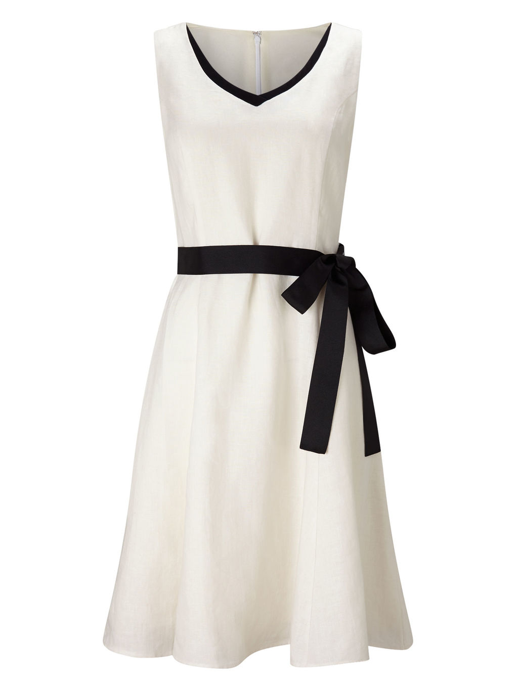 Tipped Linen Dress - length: below the knee; neckline: v-neck; pattern: plain; sleeve style: sleeveless; waist detail: belted waist/tie at waist/drawstring; predominant colour: ivory/cream; secondary colour: black; fit: fitted at waist & bust; style: fit & flare; fibres: linen - 100%; occasions: occasion; sleeve length: sleeveless; trends: monochrome; texture group: lace; pattern type: fabric; season: s/s 2016