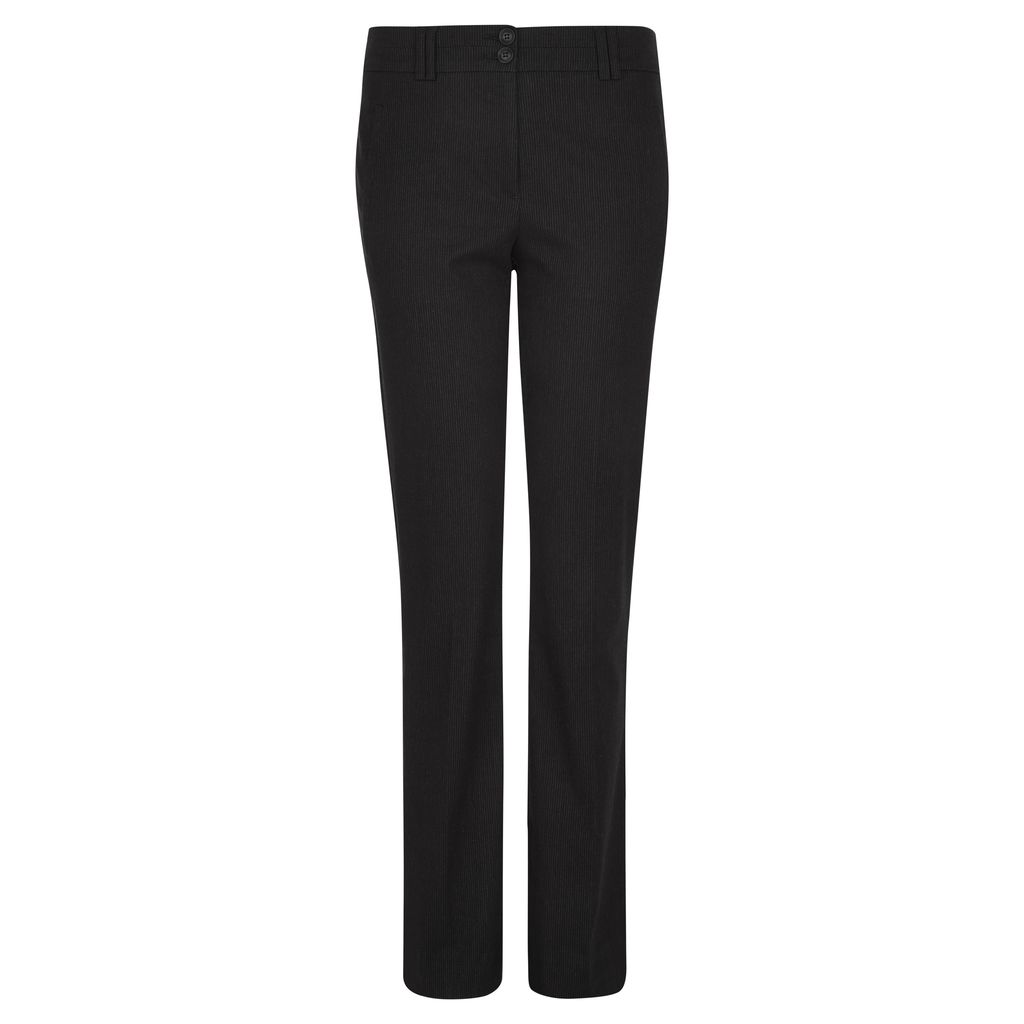 Padstow Pinstripe Trousers - length: standard; pattern: plain; waist: mid/regular rise; predominant colour: black; occasions: work, creative work; fibres: polyester/polyamide - 100%; fit: straight leg; pattern type: fabric; texture group: woven light midweight; style: standard; season: s/s 2016; wardrobe: basic
