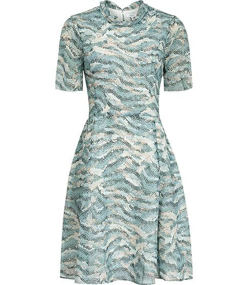 Somerset Printed Dress - secondary colour: white; predominant colour: pistachio; occasions: evening; length: just above the knee; fit: fitted at waist & bust; style: fit & flare; fibres: polyester/polyamide - 100%; neckline: crew; hip detail: soft pleats at hip/draping at hip/flared at hip; sleeve length: short sleeve; sleeve style: standard; texture group: structured shiny - satin/tafetta/silk etc.; pattern type: fabric; pattern size: light/subtle; pattern: patterned/print; season: s/s 2016; wardrobe: event