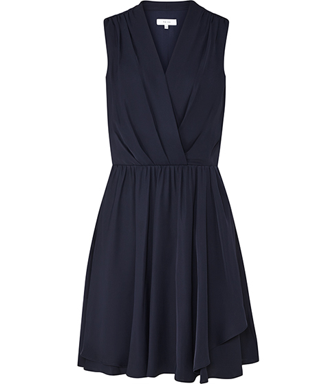 Electra Wrap Front Dress - style: faux wrap/wrap; length: mid thigh; neckline: v-neck; pattern: plain; sleeve style: sleeveless; waist detail: fitted waist; predominant colour: navy; occasions: evening, creative work; fit: fitted at waist & bust; fibres: polyester/polyamide - 100%; hip detail: soft pleats at hip/draping at hip/flared at hip; sleeve length: sleeveless; texture group: crepes; bust detail: tiers/frills/bulky drapes/pleats; pattern type: fabric; season: s/s 2016; wardrobe: highlight