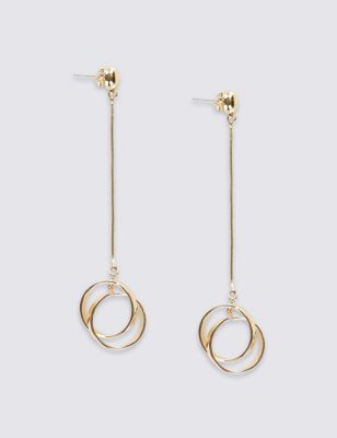 Spinning Drop Earrings - predominant colour: gold; occasions: evening; style: drop; length: long; size: standard; material: chain/metal; fastening: pierced; finish: metallic; season: s/s 2016; wardrobe: event