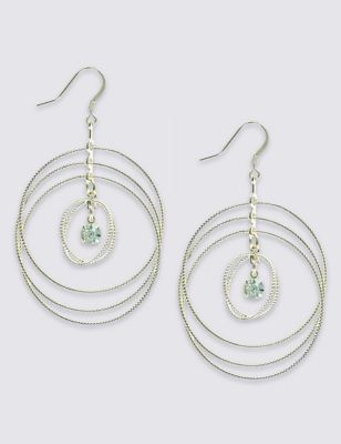 Stone Loop Drop Earrings - predominant colour: silver; occasions: evening; style: drop; length: mid; size: large/oversized; material: chain/metal; fastening: pierced; finish: metallic; embellishment: crystals/glass; season: s/s 2016; wardrobe: event
