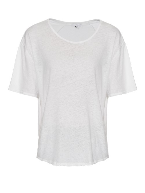 Short Sleeved Linen And Cotton Blend T Shirt - neckline: round neck; pattern: plain; style: t-shirt; predominant colour: white; occasions: casual; length: standard; fibres: linen - mix; fit: body skimming; sleeve length: short sleeve; sleeve style: standard; pattern type: fabric; texture group: jersey - stretchy/drapey; season: s/s 2016; wardrobe: basic