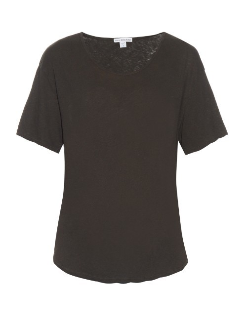 Short Sleeved Linen And Cotton Blend T Shirt - neckline: round neck; pattern: plain; style: t-shirt; predominant colour: black; occasions: casual; length: standard; fibres: linen - mix; fit: body skimming; sleeve length: short sleeve; sleeve style: standard; pattern type: fabric; texture group: jersey - stretchy/drapey; season: s/s 2016; wardrobe: basic