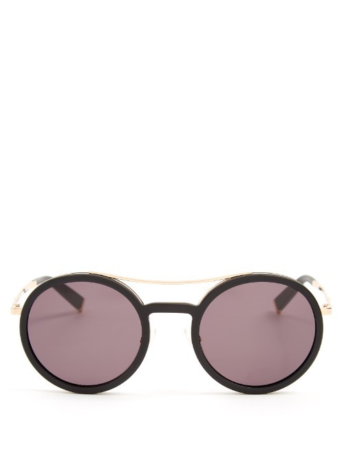 Oblo Round Frame Sunglasses - predominant colour: black; occasions: casual, holiday; style: round; size: standard; material: chain/metal; pattern: plain; finish: plain; season: s/s 2016; wardrobe: basic